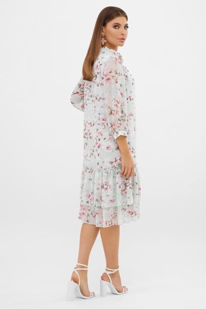 платье хаки из шифона. Платье Элисон 3/4. Цвет: мята-цветы розов. в интернет-магазине
