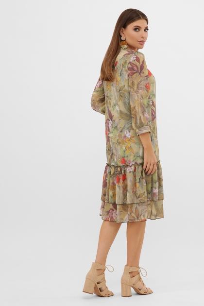 платье хаки из шифона. Платье Элисон 3/4. Цвет: оливка-цветы-листья в интернет-магазине