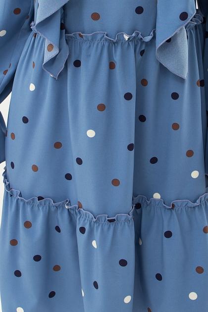 синее платье в горошек. Платье Лесса д/р. Цвет: джинс-горох цветной цена