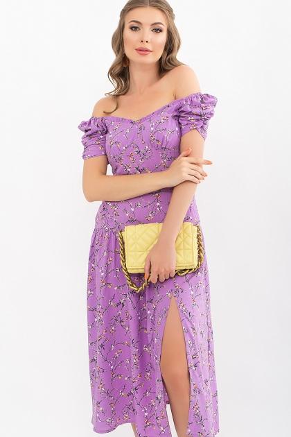 . Платье Никси к/р. Цвет: лиловый-цветы веточки цена