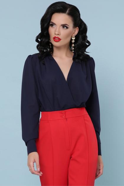 белая блузка-боди. Блуза-боди Карен д/р. Цвет: синий в интернет-магазине