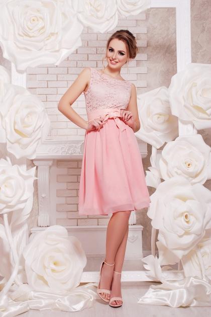 персиковое коктейльное платье без рукавов. Платье Настасья б/р. Цвет: персик купить