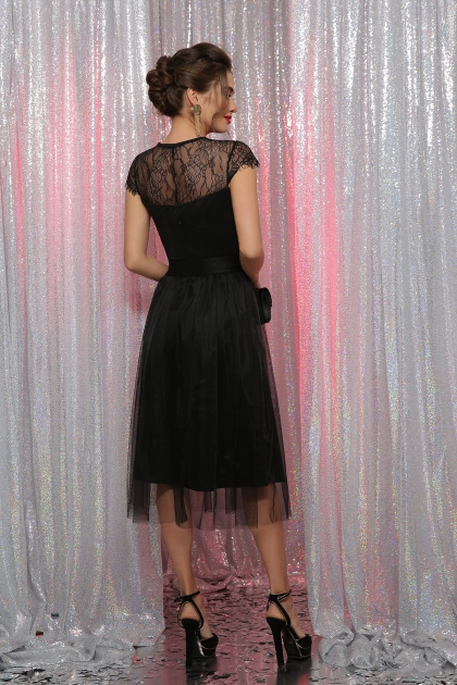 черное платье с кружевом. Платье Флориана к/р. Цвет: черный в интернет-магазине