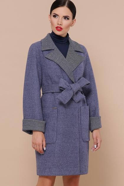 демисезонное песочное пальто. Пальто П-347-М-90. Цвет: 11-синий купить