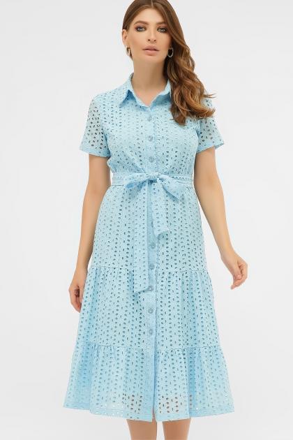 персиковое платье из хлопка. Платье Уника 1 к/р. Цвет: голубой купить