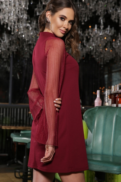 розовое платье с широкими рукавами. Платье Вилма д/р. Цвет: бордо цена