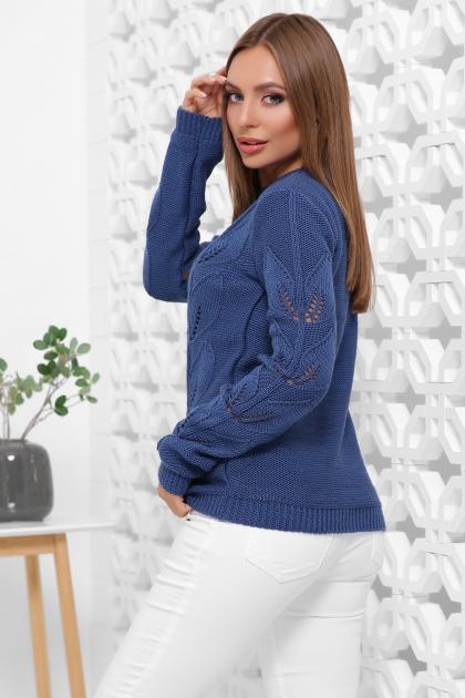 голубой свитер с круглым вырезом. Свитер 164. Цвет: синий купить
