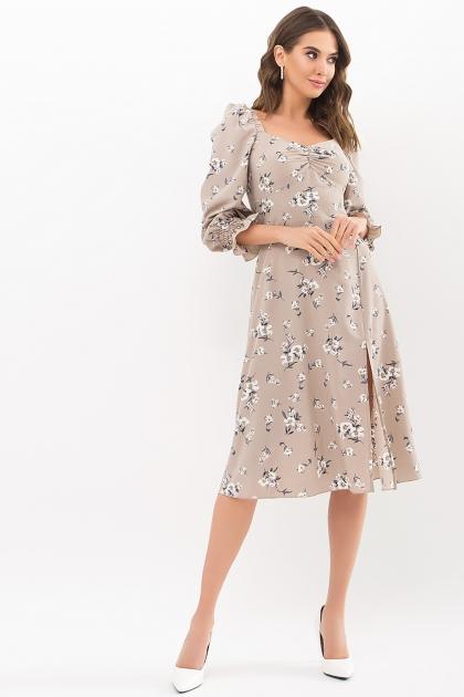 . Платье Пала д/р. Цвет: бежевый-белый букет цена