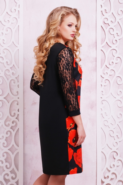 трикотажное платье батал с цветами. Маки Платье Гардена-2Б д/р. Цвет: принт купить