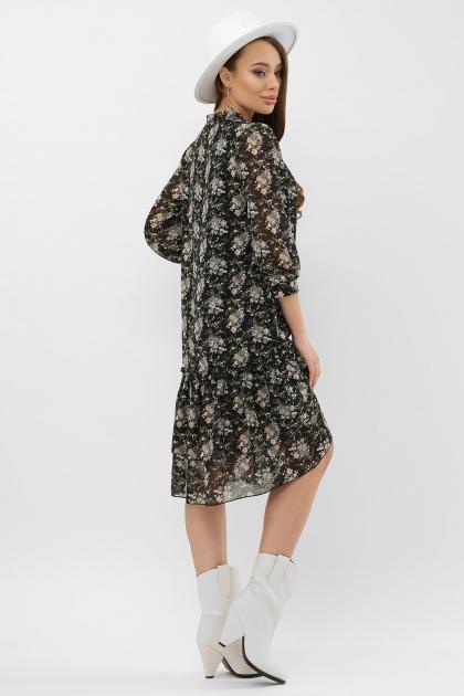 платье хаки из шифона. Платье Элисон 3/4. Цвет: черный-букет в интернет-магазине