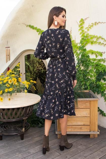 . Платье Агафия-1 д/р. Цвет: черный-м.букет цена