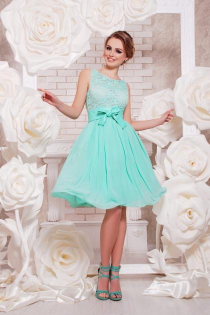 персиковое коктейльное платье без рукавов. Платье Настасья б/р. Цвет: мята купить