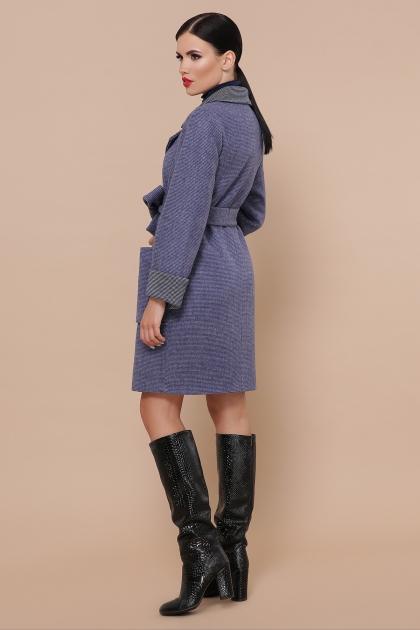 демисезонное песочное пальто. Пальто П-347-М-90. Цвет: 11-синий цена