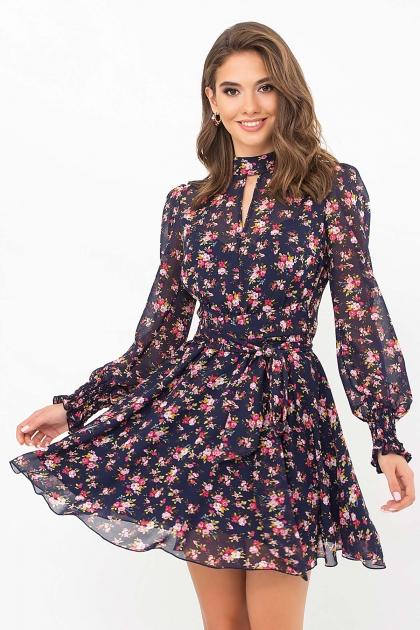 шифоновое платье мини. Платье Рина д/р. Цвет: синий-букет разноцветн купить