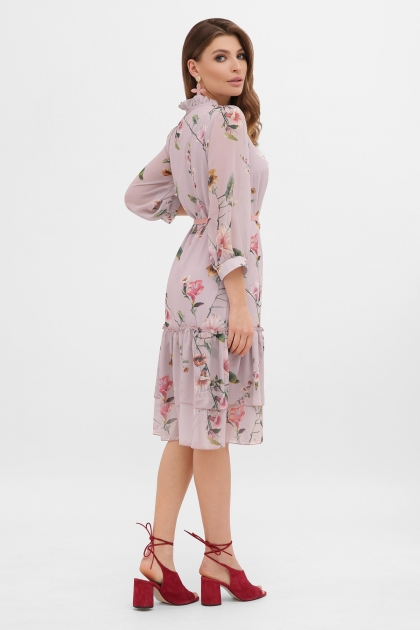 платье хаки из шифона. Платье Элисон 3/4. Цвет: лиловый-цветы б. в интернет-магазине