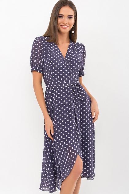 . Платье Алеста к/р. Цвет: синий - белый горох цена