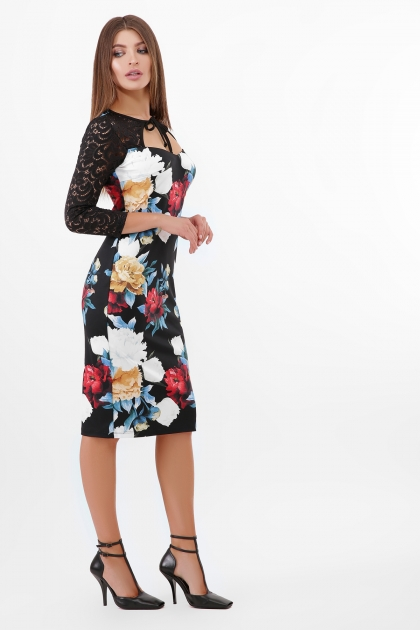 нарядное платье с цветами. Пионы Платье Карима д/р. Цвет: черный в интернет-магазине