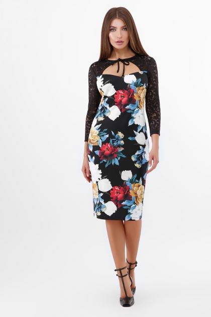 нарядное платье с цветами. Пионы Платье Карима д/р. Цвет: черный цена