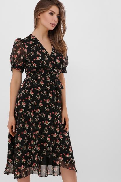 . Платье Алеста к/р. Цвет: черный-роза красная купить