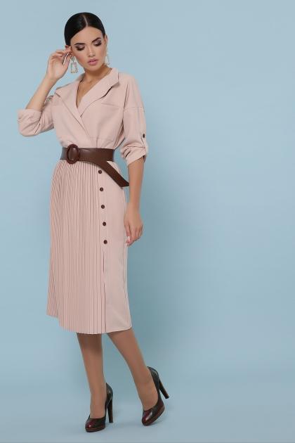синее платье плиссе. Платье Заира д/р. Цвет: бежевый в интернет-магазине