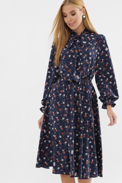 . Платье Дельфия д/р. Цвет: синий-оранж.м.цветок купить