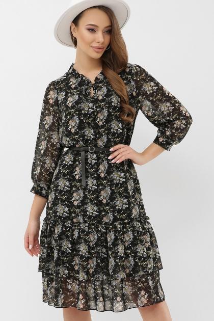 платье хаки из шифона. Платье Элисон 3/4. Цвет: черный-букет купить
