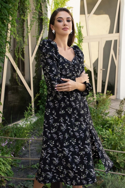 . Платье Пала д/р. Цвет: черный-полевые цветы цена