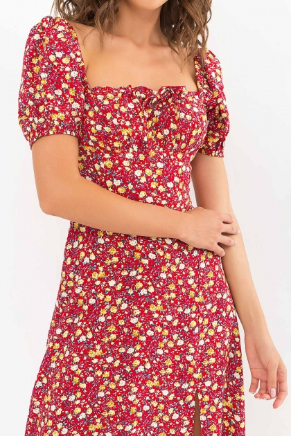 . Платье Билла к/р. Цвет: красный-желтые Розы в интернет-магазине