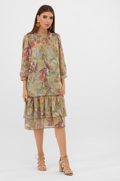 платье хаки из шифона. Платье Элисон 3/4. Цвет: оливка-цветы-листья купить