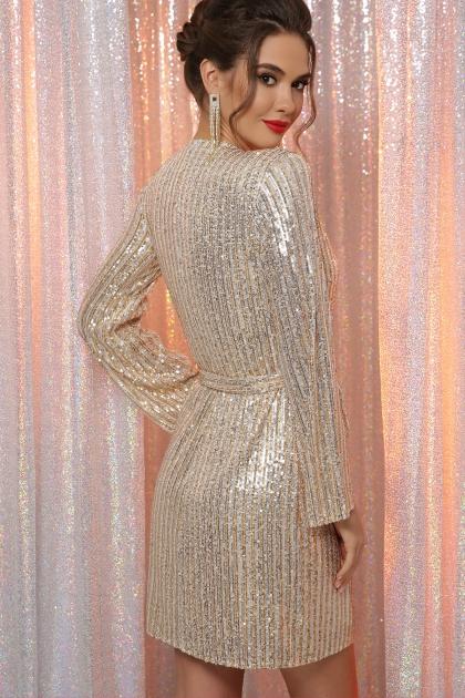 платье на новый год с пайетками. Платье Земфира д/р. Цвет: золото-серебро в интернет-магазине