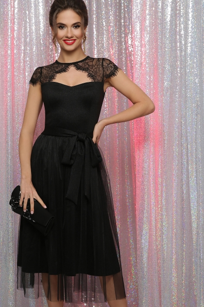 черное платье с кружевом. Платье Флориана к/р. Цвет: черный купить