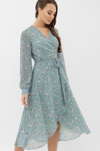 нежное платье на запах. Платье Алеста д/р. Цвет: бирюза-белый цветок купить