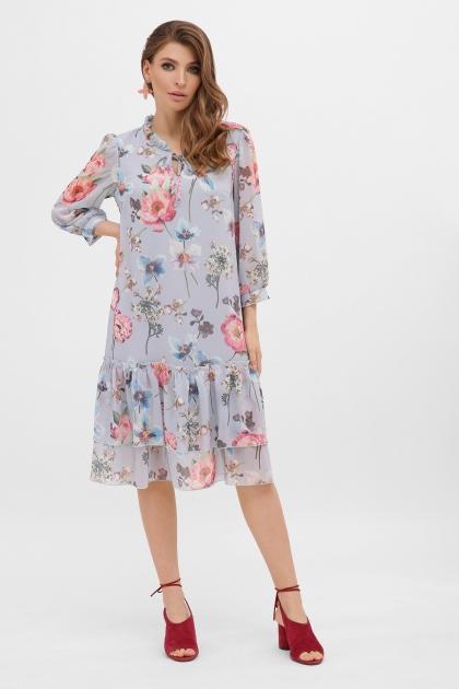 платье хаки из шифона. Платье Элисон 3/4. Цвет: голубой-цветы б. купить
