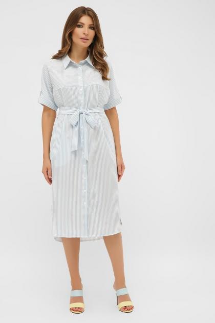 платье-рубашка в голубую полоску. Платье-рубашка Дарья к/р. Цвет: голубая полоска купить