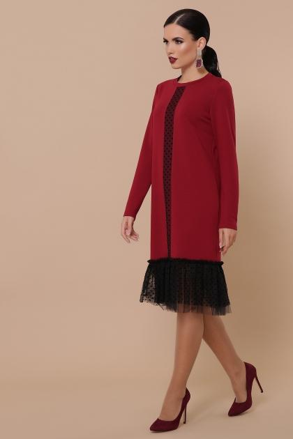бордовое платье с фатином. Платье Касия д/р. Цвет: бордо цена