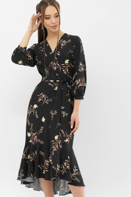 платье на запах из софта. Платье Сафура 3/4. Цвет: черный-ветка цена