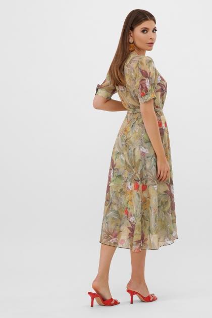 . Платье Алеста к/р. Цвет: оливка-цветы-листья в Украине