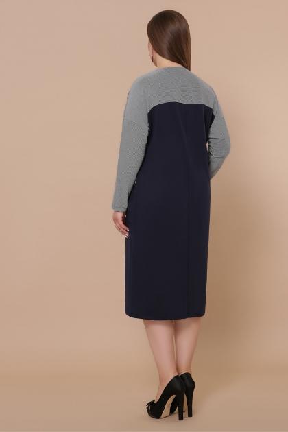 синее платье батал. Платье Джоси-Б д/р. Цвет: синий-лапка м.черная в интернет-магазине