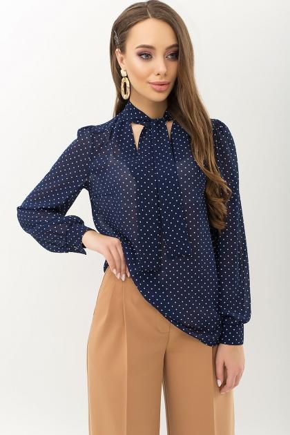 серая блузка в горошек. Блуза Аза д/р. Цвет: т.синий-белый м. горох купить
