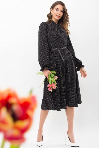 . Платье Дельфия д/р. Цвет: черный-белый м. горох купить