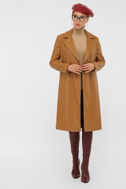 кожаный плащ коричневого цвета. Плащ 108-100 (К). Колір: 606-горчица цена