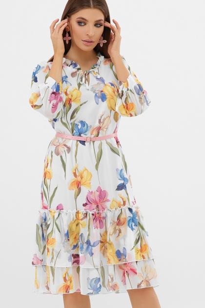 платье хаки из шифона. Платье Элисон 3/4. Цвет: белый-ирисы цена