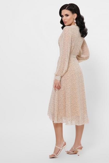 нежное платье на запах. Платье Алеста д/р. Цвет: бежевый-цветы м. в интернет-магазине