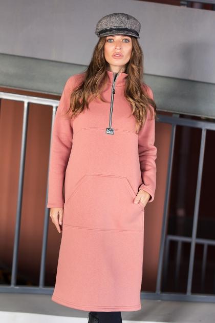 розовое спортивное платье. Платье Айсин д/р. Цвет: розовый персик цена