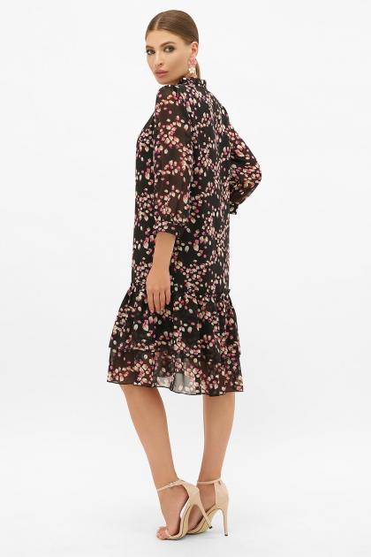 платье хаки из шифона. Платье Элисон 3/4. Цвет: черный-лепестки в интернет-магазине