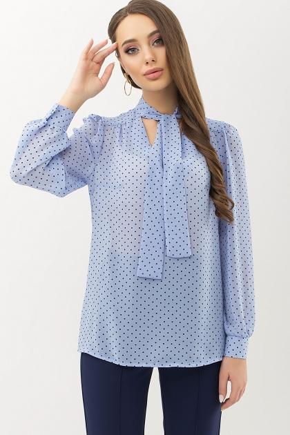 серая блузка в горошек. Блуза Аза д/р. Цвет: голубой-черный м.горох купить