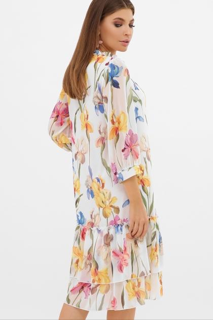 платье хаки из шифона. Платье Элисон 3/4. Цвет: белый-ирисы в Украине