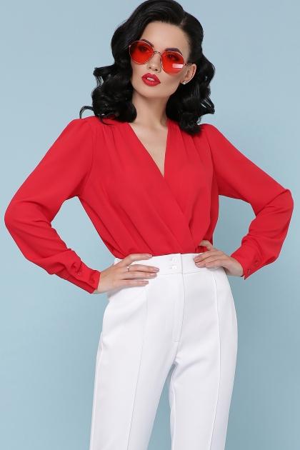 белая блузка-боди. Блуза-боди Карен д/р. Цвет: красный в интернет-магазине