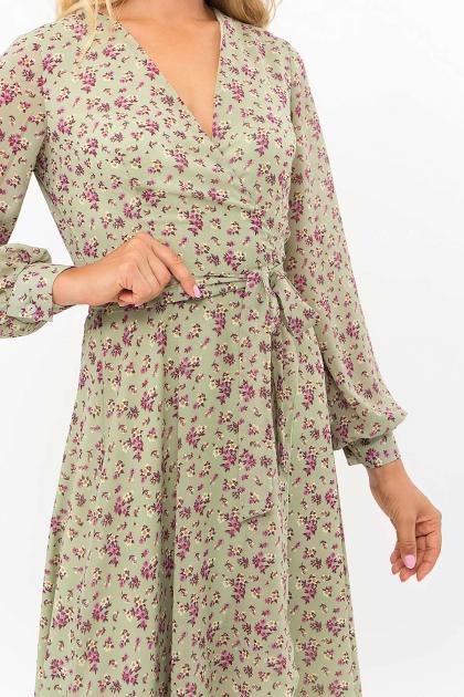 нежное платье на запах. Платье Алеста д/р. Цвет: хаки- сиреневые цветы цена