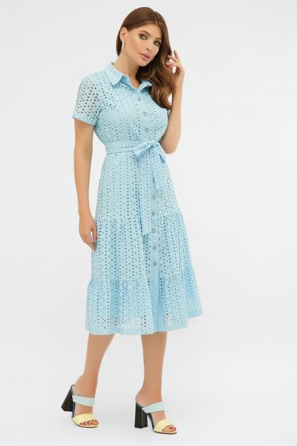 персиковое платье из хлопка. Платье Уника 1 к/р. Цвет: голубой цена